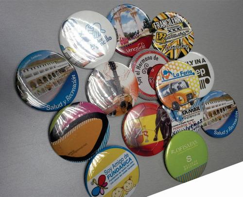 12 chapas publicitarias full color de 5.5 cm pop, eventos!