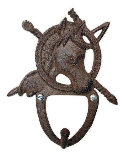 12 colgadores diseño cabeza de caballo  hierro