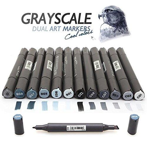 12 colores frescos grises arte marcadores de escala de grise