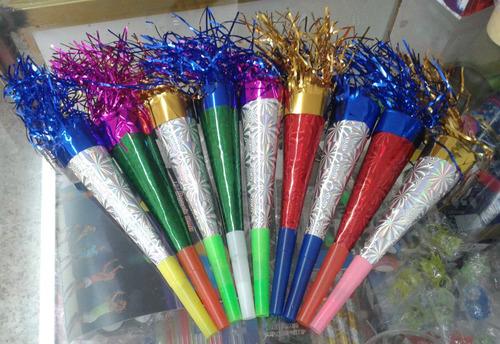 12 cornetas de cartón para fiesta batucada carnaval 19cm