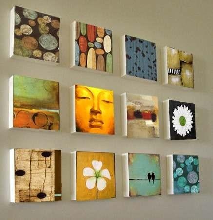 12 cuadros polipticos decorativos leo y acr lico 90 - Hacer cuadros originales para salon ...