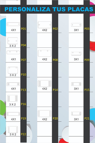 12 dijes identificadores acrilico mdf personalizados, docena