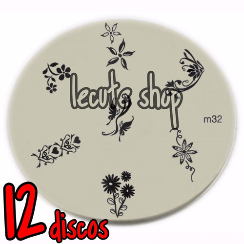 12 discos para sellos uñas decoracion disco sello acrilico