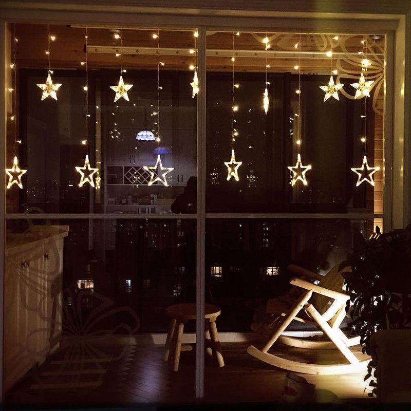 23b4cb3620f 12 Estrellas 138 Led Cortina Cadena Luces Para Navidad -   511.58 en ...