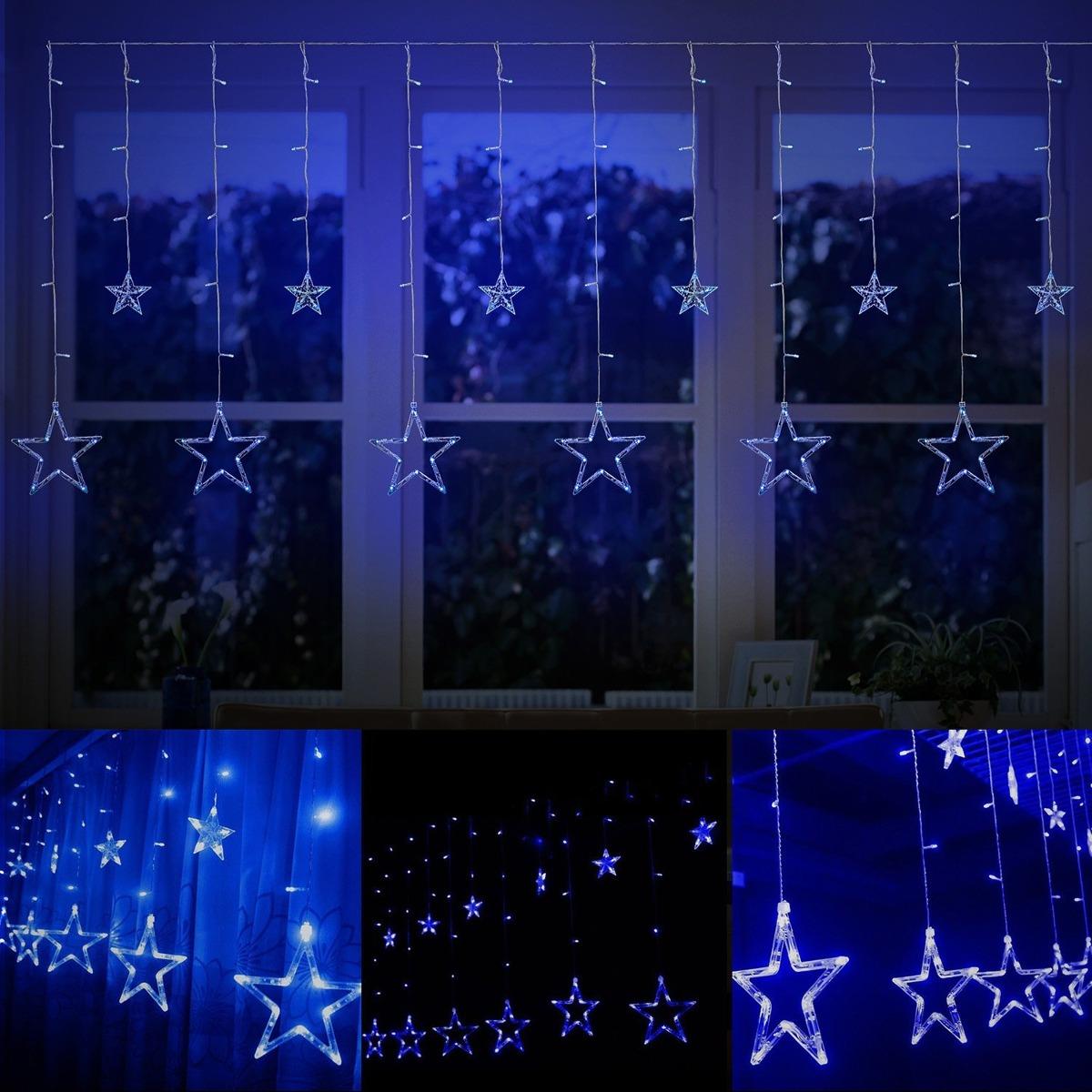 c25b6fff732 12 Estrellas 138 Led Cortina Cadena Luces Para Navidad-azul ...