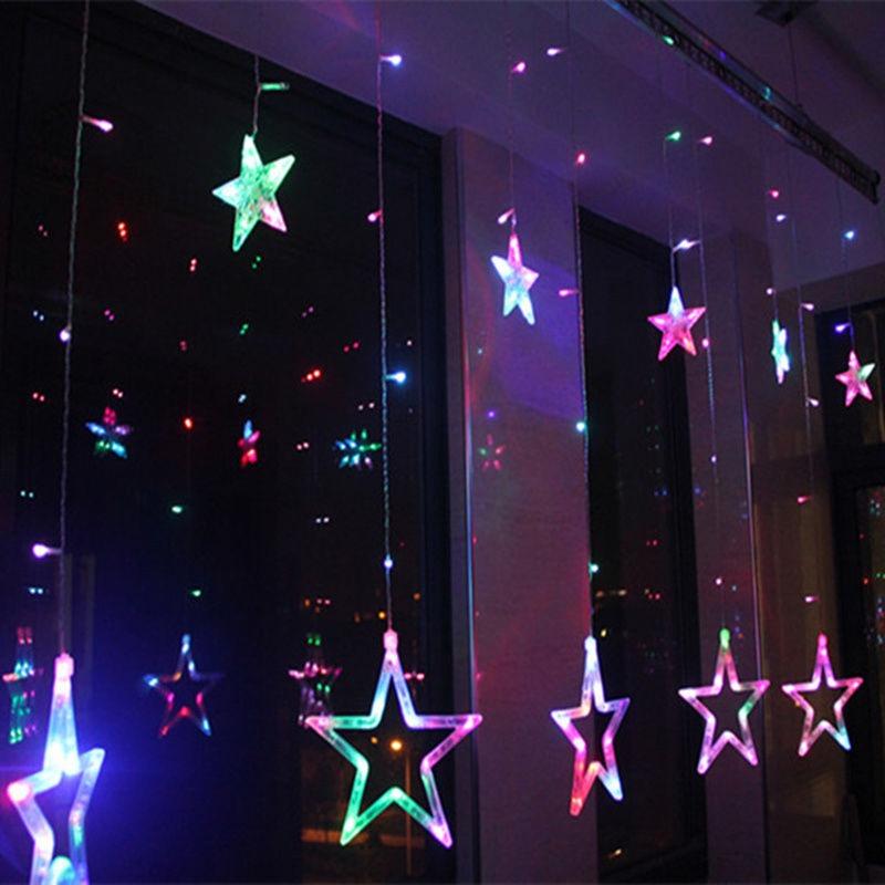 76ba567d671 12 Estrellas 138 Led Cortina Cadena Luces Para Navidad-rgb ...