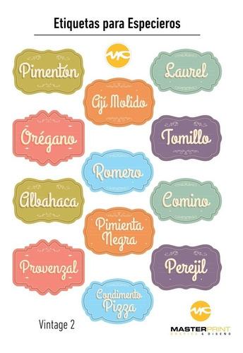 12 etiquetas personalizadas para frascos especieros