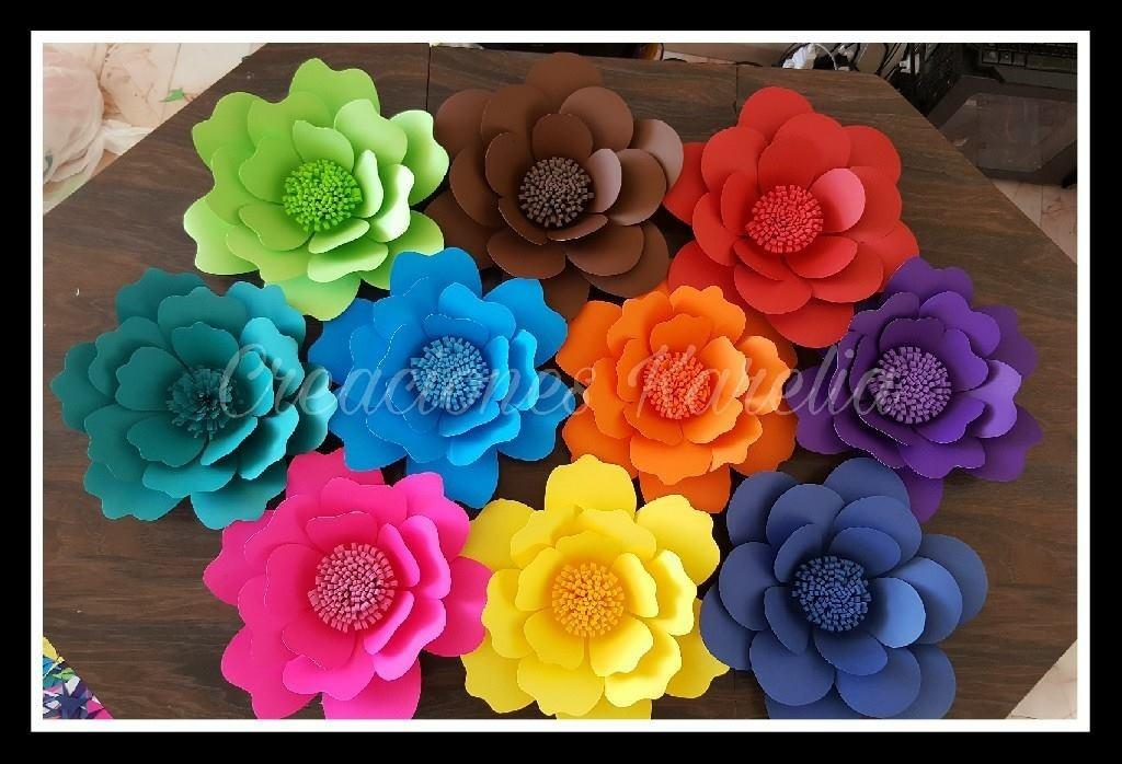 12 Flores De Cartulina Petalo 11cm Colores Varios 250 00 En