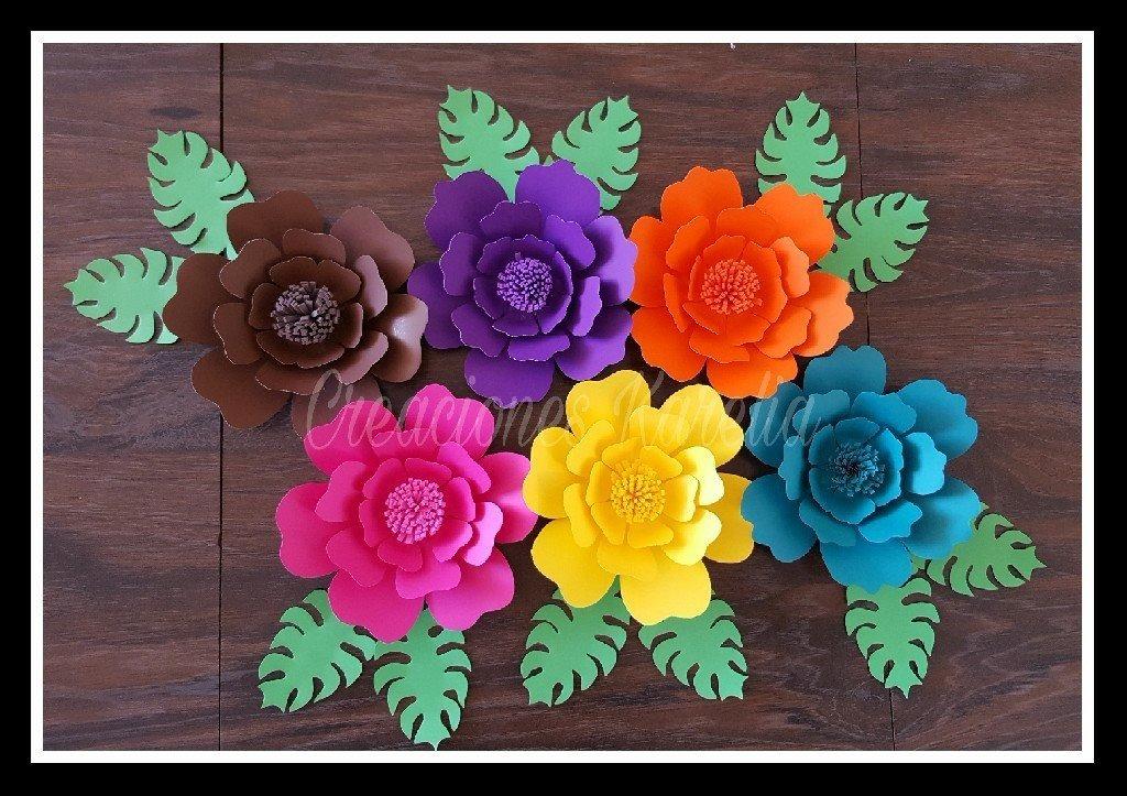 12 Flores De Cartulina Petalo 8cm Colores Varios 190 00 En