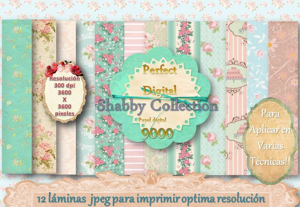 12 Fondos Shabby Chic Colleccion Vintage Rosas Decoupage 2x1