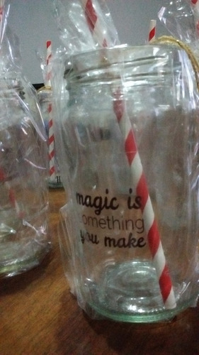 12 frascos con frase para souvenir, con sorbete y envoltorio