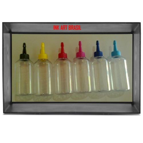 12 frascos de 100 ml pvc + bico colorido ideal para tintas