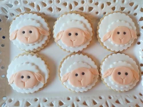 12 galletitas decoradas ovejas, baby shower, cumpleaños. etc