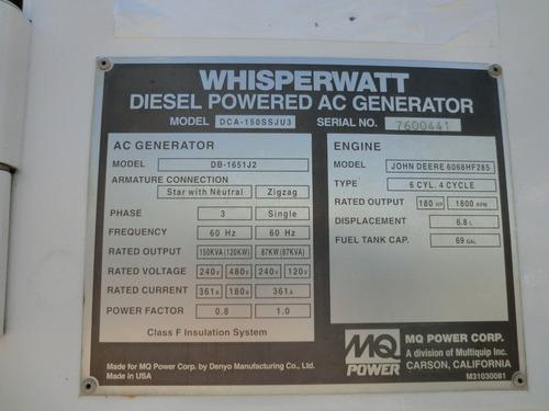 12) generador de electricidad mq power 120 kw 150 kva 2008