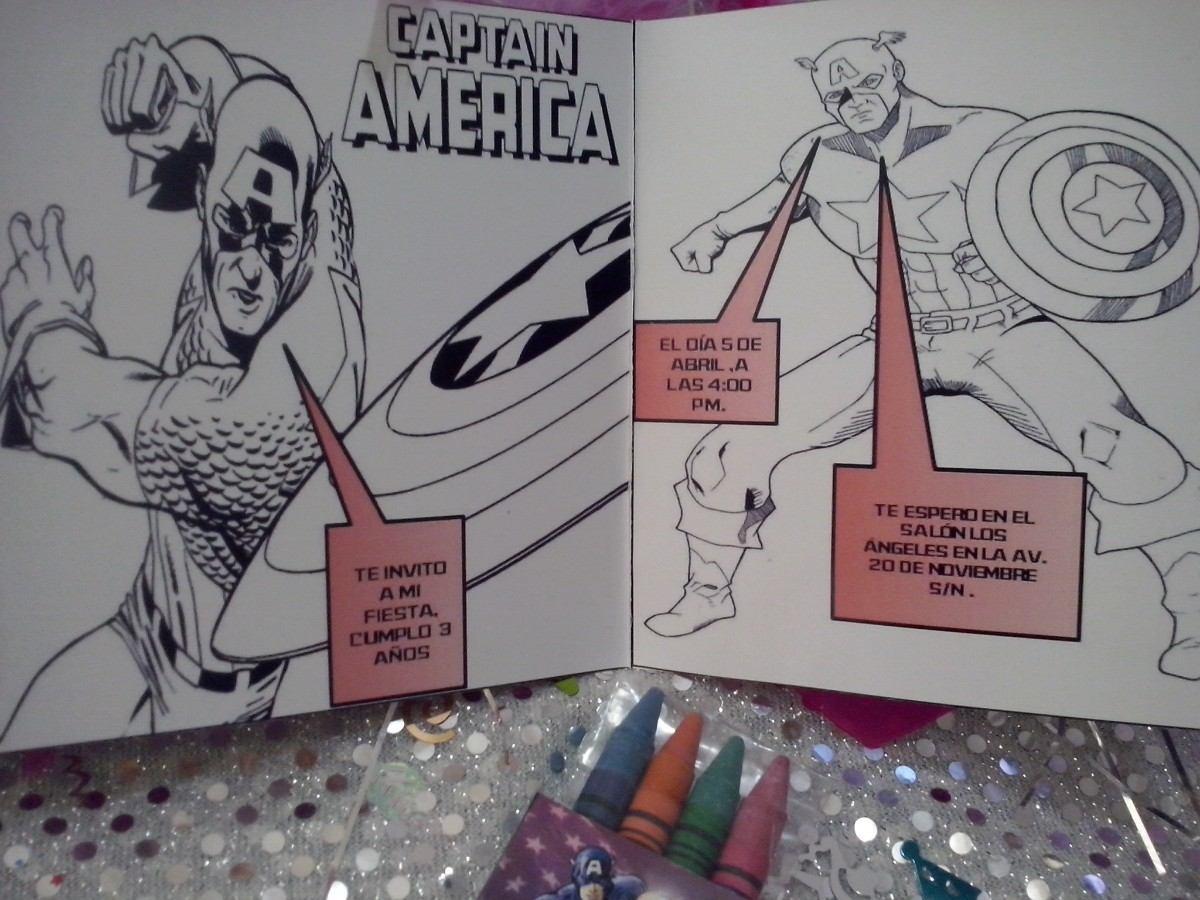 12 Invi Capitan America Para Colorear Incluye 4 Crayolas - $ 160.00 ...