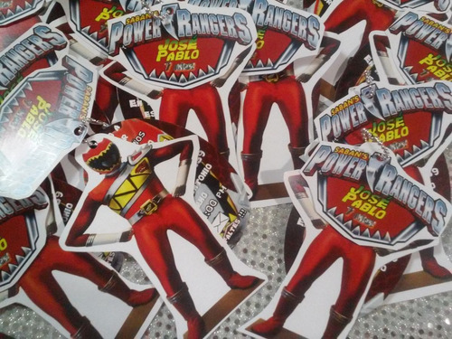12 invitacion con cadenita power rangers rojo