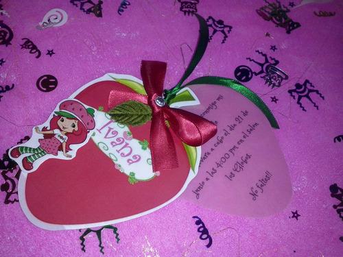 12 invitacion forma de fresa, rosita fresita con relieve
