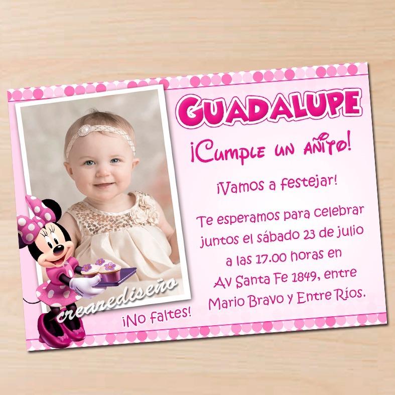 12 Invitaciones De Cumpleaños Minnie Mouse Rosa Roja