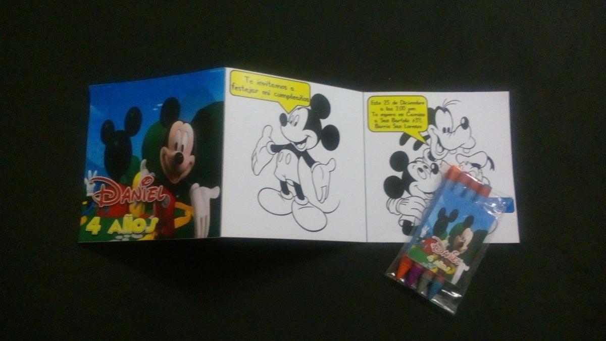 12 Invitaciones Mickey Mouse Para Colorear Con 4 Crayolas - $ 160.00 ...