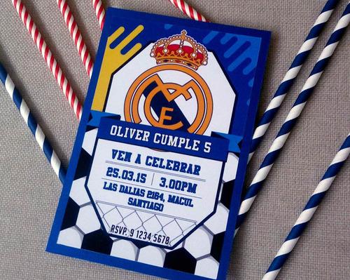 12 invitaciones para cumpleaños real madrid. cotillón