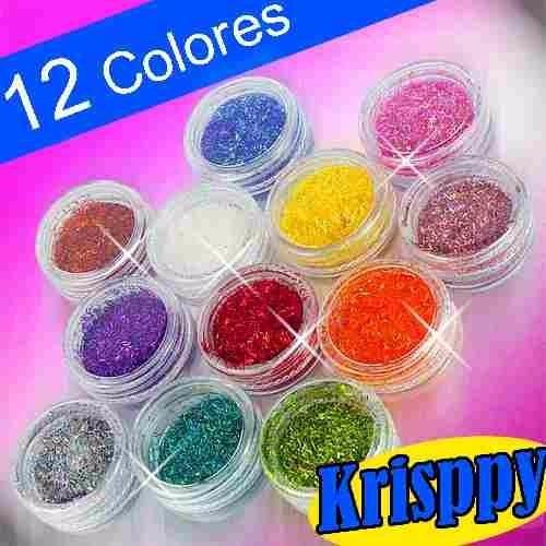 12 krisppy diferentes colores decoracion uñas acrilico