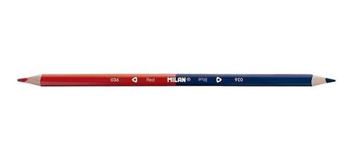 12 lápices bicolor milan azul / rojo triangular de españa