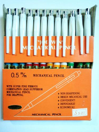 12 lapices mecánicos portaminas 0.5mm plasticos importados