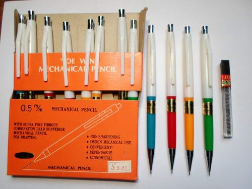 12 lapices mecánicos portaminas + tubo c/ 12 minas 0.5mm imp