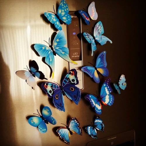 12 mariposas imantada y adhesiva azul b decorativas