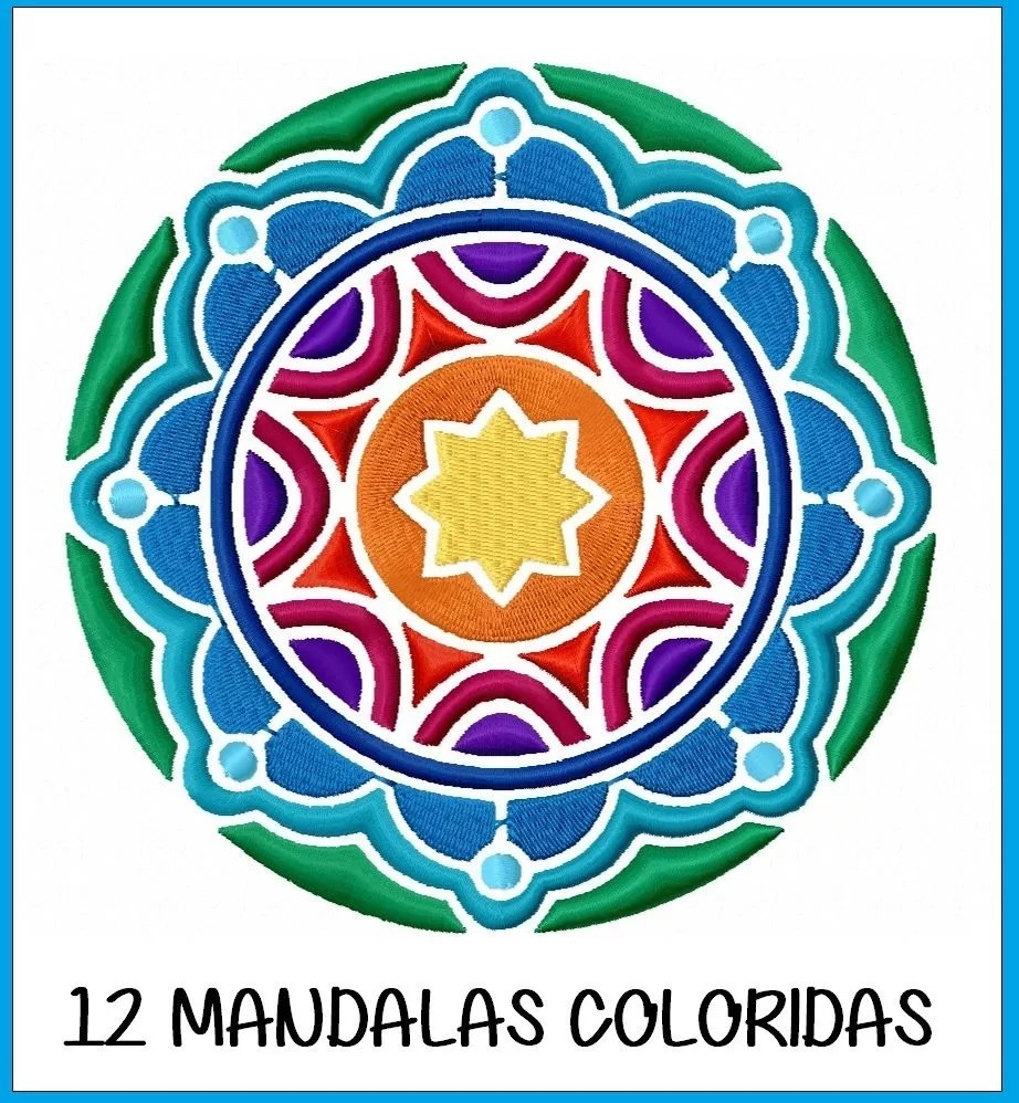 12 Matrizes Bordado Computadorizado Mandalas Coloridas R 10 00