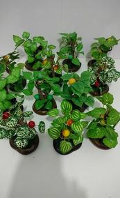 12 Mini Arvores Bonsais Artif Frutifera Arranjo Enfeite Flor