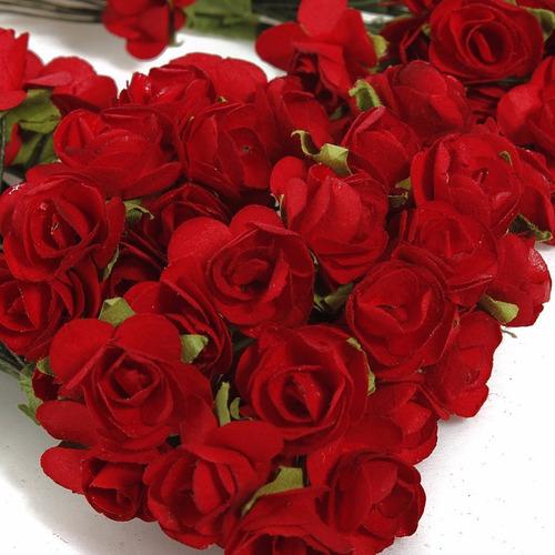 12 mini rosas vermelhas a bela e a fera papel pronta entrega