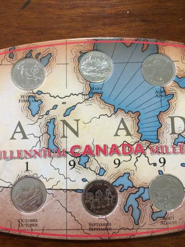 12 monedas 25 centavos canadá 1999 colección del milenio