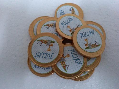 12 monedas de choco personalizada con motivo la granja