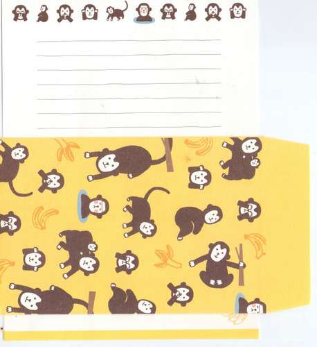 12 papel de carta + 6 envelopes + 6 adesivos - sortidos