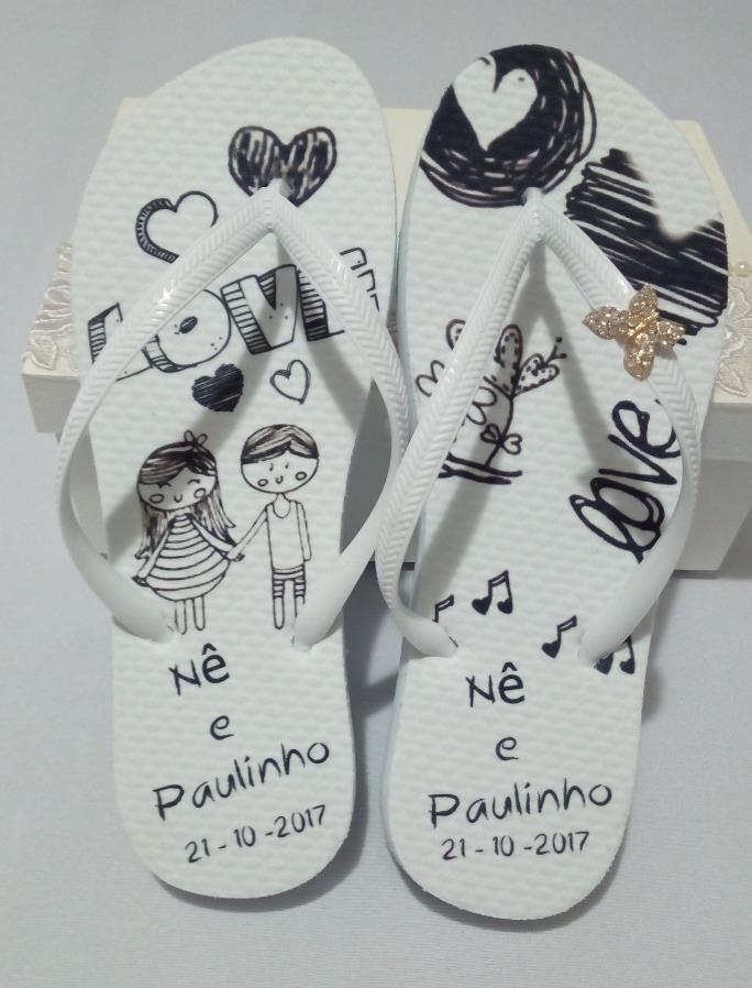 0db807ddad 12 pares de chinelos personalizados casamento. Carregando zoom.