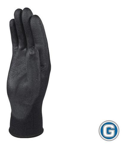 12 pares guantes deltaplus palma poliuretano ve702 negro