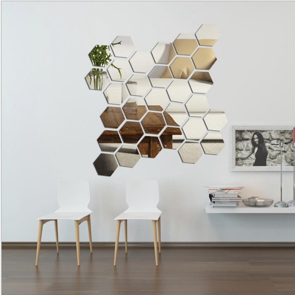 12 Pcs Moderno Espelho 3d Geométrico Hexagonal Adesivo De Pa - R$ 117,55 em  Mercado Livre