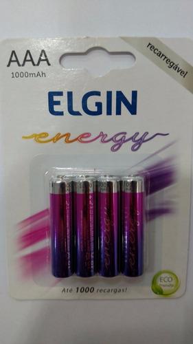 12 pilhas recarregáveis elgin aaa 1000 mah  (3x4)