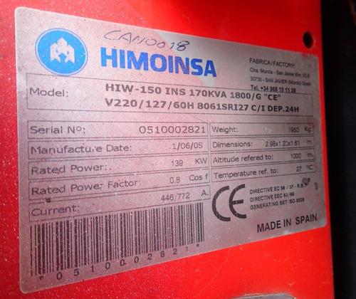 12) planta de luz y emergencia himoinsa 139 kw 127/220 v
