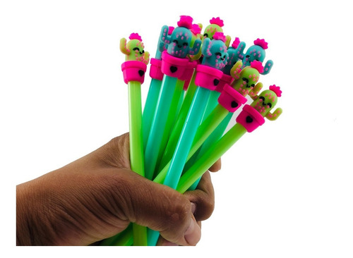 12 pluma gel kawaii cactus punto fino fashion fiesta regalo