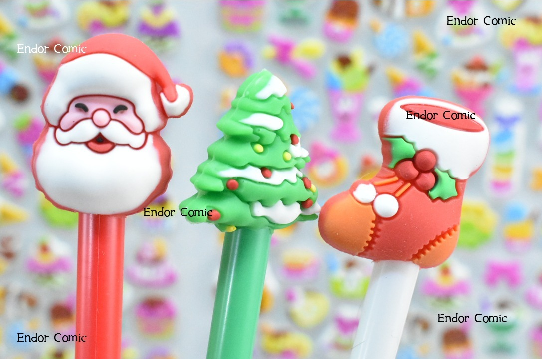 12 Plumas Feliz Navidad Negro Kawaii Super Bonitas 109 00 En