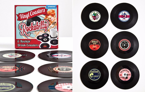 12 posavasos discos de vinilo cd retro original caja regalo
