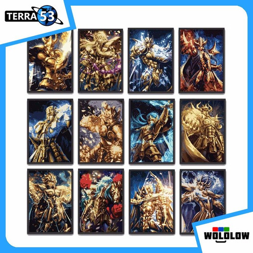 12 posters 10x15 cm cavaleiros de ouro saint seiya zodiaco