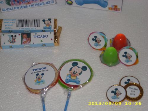 12 potesitos de gelatina  personalizadas  de mickey bebe