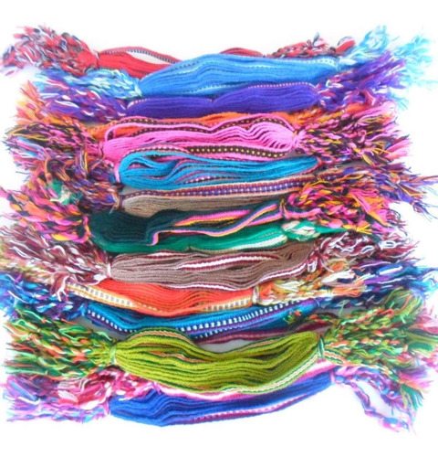 12 pulseiras pano coloridas mista uma de cada cor ref: 9938