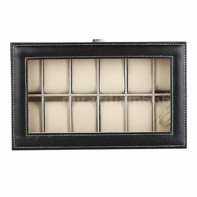 12 ranuras reloj caja pantalla organizador de casos vidrio