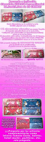12 recuerdo invitación chocolates gigantes bautizo ++ $12c/u