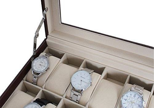 12 reloj cuadro reloj organizador de pantalla con cuero pu