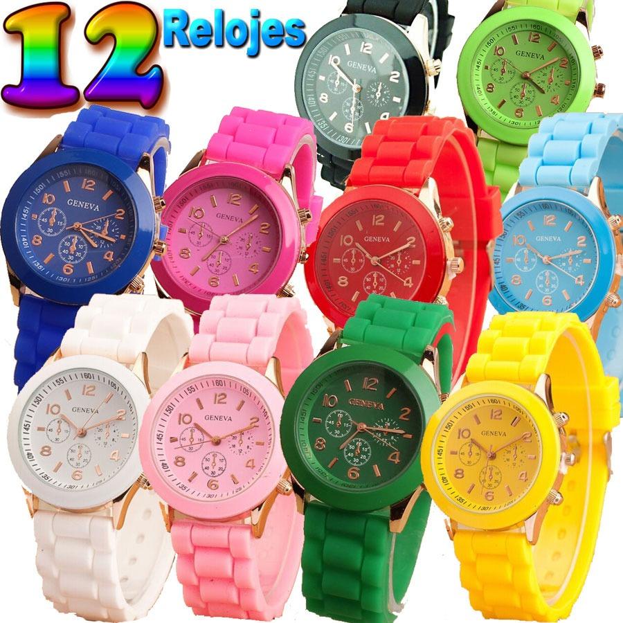 d4a88863353e 12 relojes geneva malla de silicona varios colores   oferta. Cargando zoom.